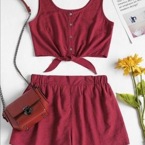 ZAFUL dark red two piece tank/ short set